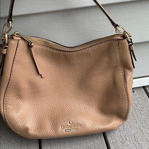 Kate spade tan leather zippered NEEDS REPAIR